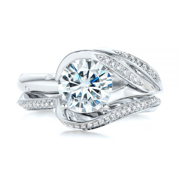 18K White Gold Custom Two-Tone Moissanite and Diamond Wrap Engagement Ring - Top View -  105158 - Thumbnail