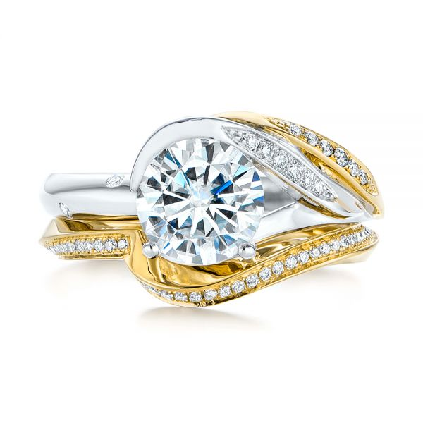 14K Yellow Gold Custom Two-Tone Moissanite and Diamond Wrap Engagement Ring - Top View -  105158 - Thumbnail