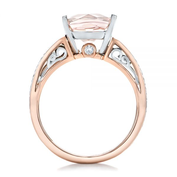 14k Rose Gold And Platinum 14k Rose Gold And Platinum Custom Two-tone Morganite Engagement Ring - Front View -