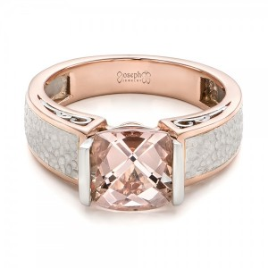 Custom Two-Tone Morganite Engagement Ring