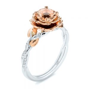 Custom Two-Tone Morganite and Diamond Engagement Ring - Image