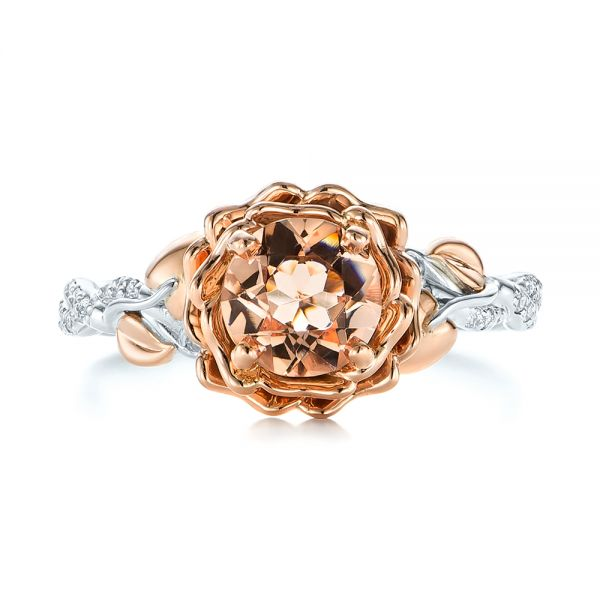 Custom Two-Tone Morganite and Diamond Engagement Ring - Top View -  103524 - Thumbnail