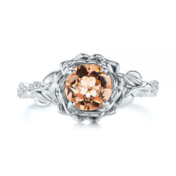 14K Gold And 14k White Gold 14K Gold And 14k White Gold Custom Two-tone Morganite And Diamond Engagement Ring - Top View -  103524