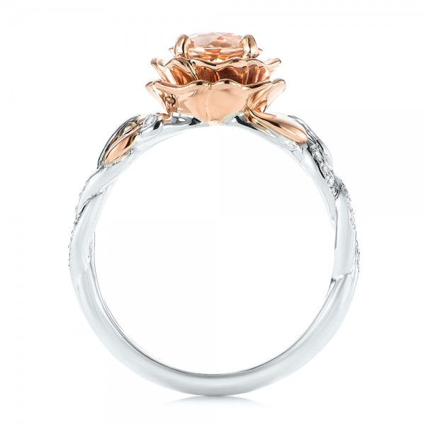 Custom Two-Tone Morganite and Diamond Engagement Ring - Finger Through View