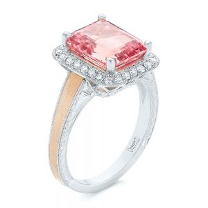 Custom Two-Tone Peach Sapphire and Diamond Halo Engagement Ring - Image