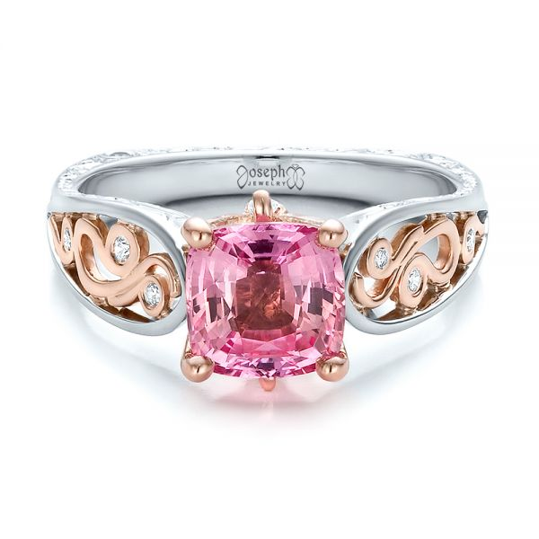 14K Gold And 14k Rose Gold Custom Two-tone Pink Sapphire And Diamond Engagement Ring - Flat View -