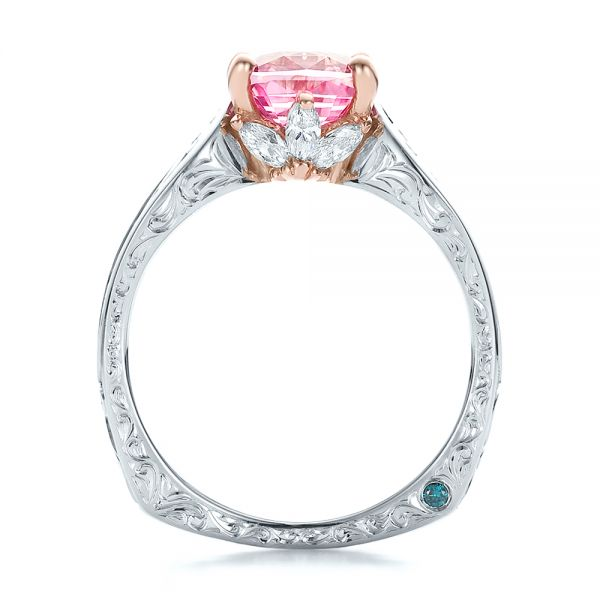 14K Gold And 14k Rose Gold Custom Two-tone Pink Sapphire And Diamond Engagement Ring - Front View -
