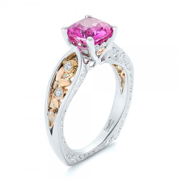 Custom Two-Tone Pink Sapphire and Diamond Engagement Ring - Image