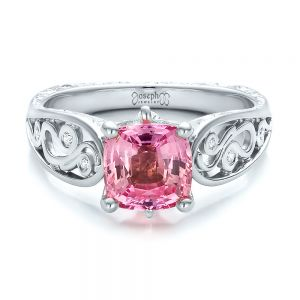 Custom Two-Tone Pink Sapphire and Diamond Engagement Ring