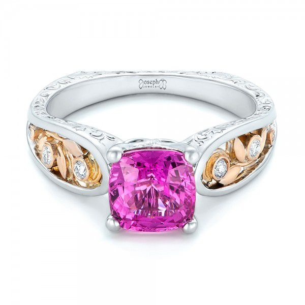 18k White Gold And 18K Gold Custom Two-tone Pink Sapphire And Diamond Engagement Ring - Flat View -  102827
