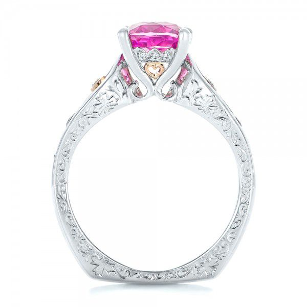 18k White Gold And 18K Gold Custom Two-tone Pink Sapphire And Diamond Engagement Ring - Front View -  102827