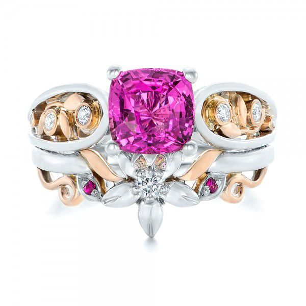 18k White Gold And 18K Gold Custom Two-tone Pink Sapphire And Diamond Engagement Ring - Top View -  102827