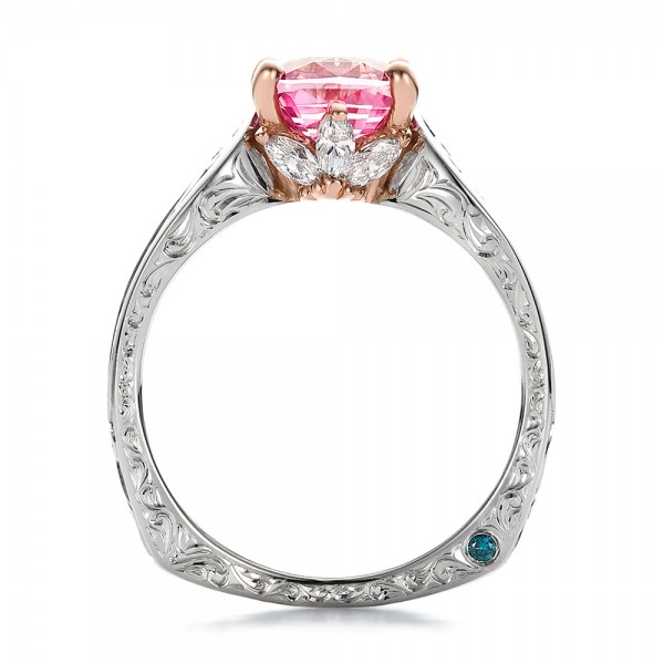 Custom Two-Tone Pink Sapphire and Diamond Engagement Ring - Finger Through View