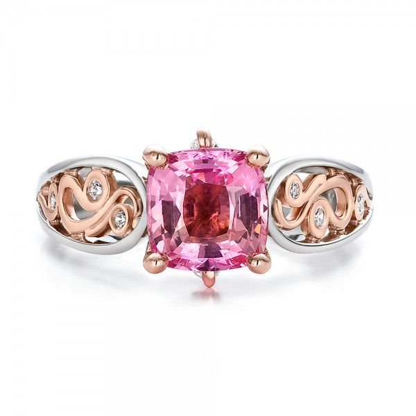 Custom Two-Tone Pink Sapphire and Diamond Engagement Ring - Top View