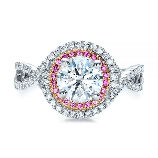 Custom Two-Tone Pink Sapphire and White Diamond Halo Engagement Ring - Image