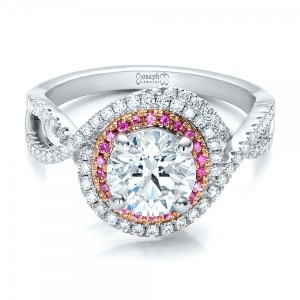 Custom Two-Tone Pink Sapphire and White Diamond Halo Engagement Ring