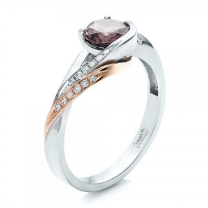 Custom Two-Tone Pink Zircon and Diamond Engagement Ring - Image