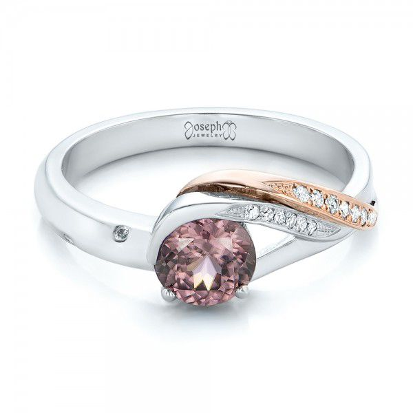 Custom Two-Tone Pink Zircon and Diamond Engagement Ring - Flat View -  102166 - Thumbnail