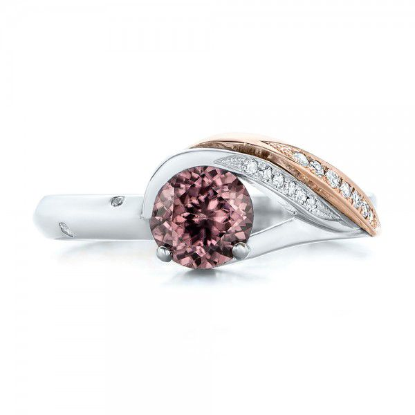 Custom Two-Tone Pink Zircon and Diamond Engagement Ring - Top View -  102166 - Thumbnail