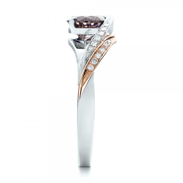 Custom Two-Tone Pink Zircon and Diamond Engagement Ring - Side View