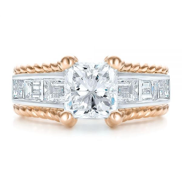 Platinum And 14k Rose Gold Platinum And 14k Rose Gold Custom Two-tone Diamond Engagement Ring - Top View -
