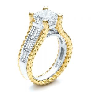 Custom Two-Tone Platinum and Gold Diamond Engagement Ring - Image