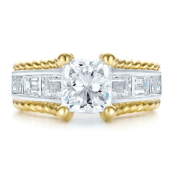 14K Gold And 18k Yellow Gold 14K Gold And 18k Yellow Gold Custom Two-tone Diamond Engagement Ring - Top View -