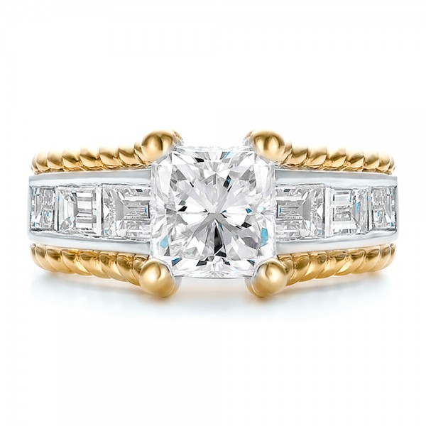 Custom Two-Tone Platinum and Gold Diamond Engagement Ring - Top View
