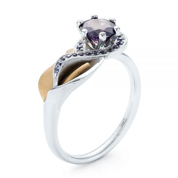 Custom Two-Tone Purple Sapphire Engagement Ring - Image