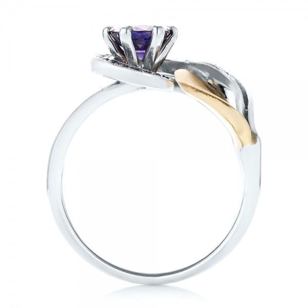 Custom Two-Tone Purple Sapphire Engagement Ring - Finger Through View