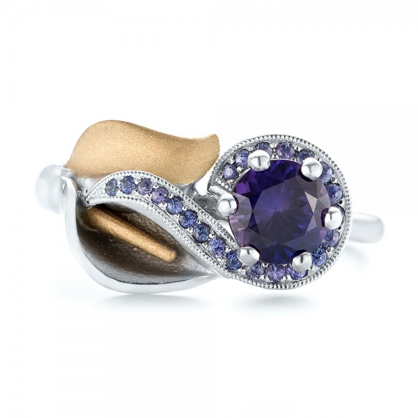 Custom Two-Tone Purple Sapphire Engagement Ring - Top View