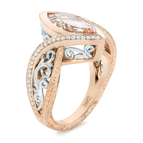 14k Rose Gold And 14K Gold Custom Two-tone Morganite And Diamond Engagement Ring - Three-Quarter View -  102808