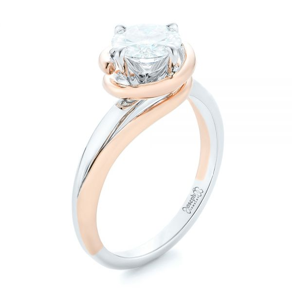 Custom Two-Tone Solitaire Diamond Engagement Ring - Three-Quarter View -  102407 - Thumbnail