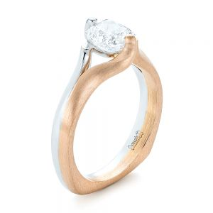 Custom Two-Tone Solitaire Diamond Engagement Ring - Image