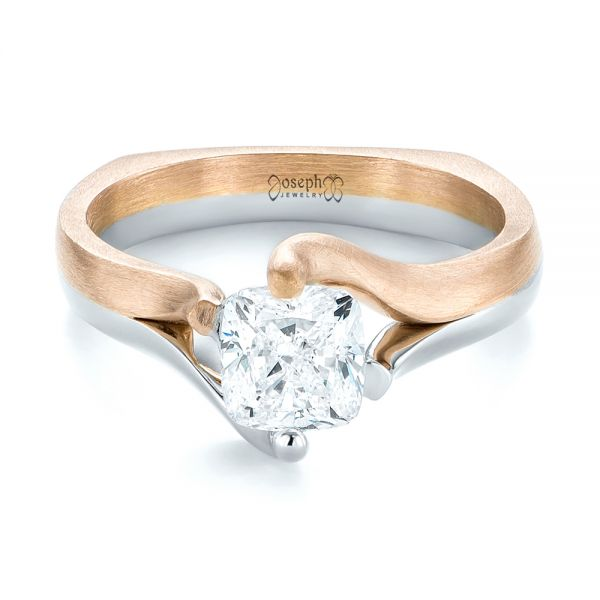 Custom Two-Tone Solitaire Diamond Engagement Ring - Flat View -  103329 - Thumbnail