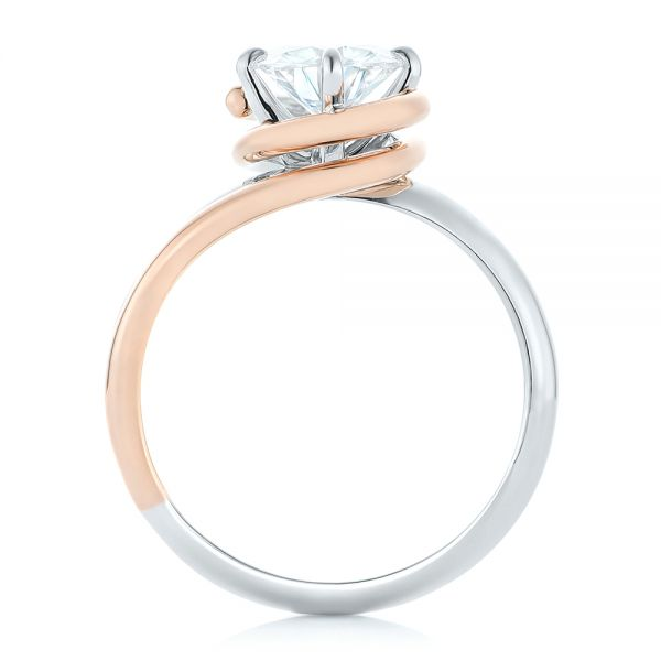 Custom Two-Tone Solitaire Diamond Engagement Ring - Front View -  102407 - Thumbnail