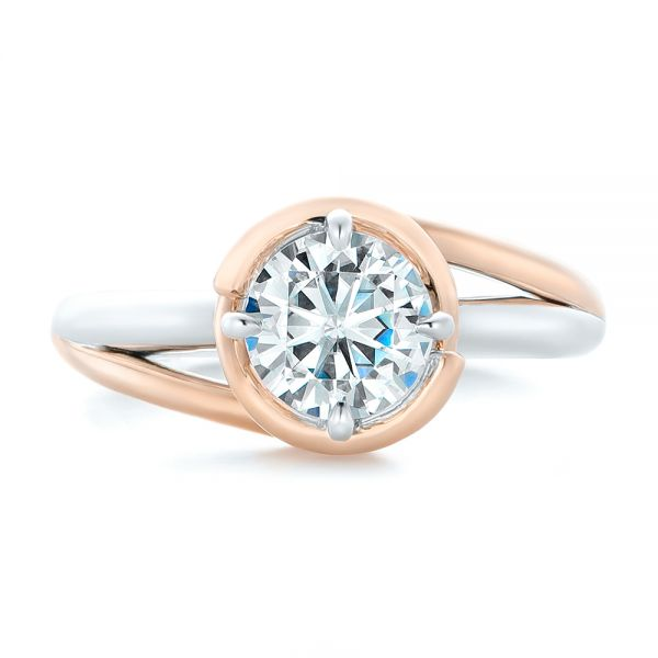 Custom Two-Tone Solitaire Diamond Engagement Ring - Top View -  102407 - Thumbnail