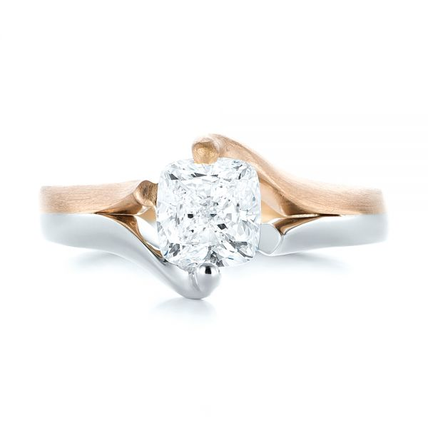 Custom Two-Tone Solitaire Diamond Engagement Ring - Top View -  103329 - Thumbnail