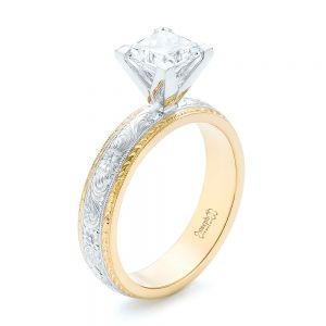 Custom Two-Tone Solitaire Diamond Engagement Ring