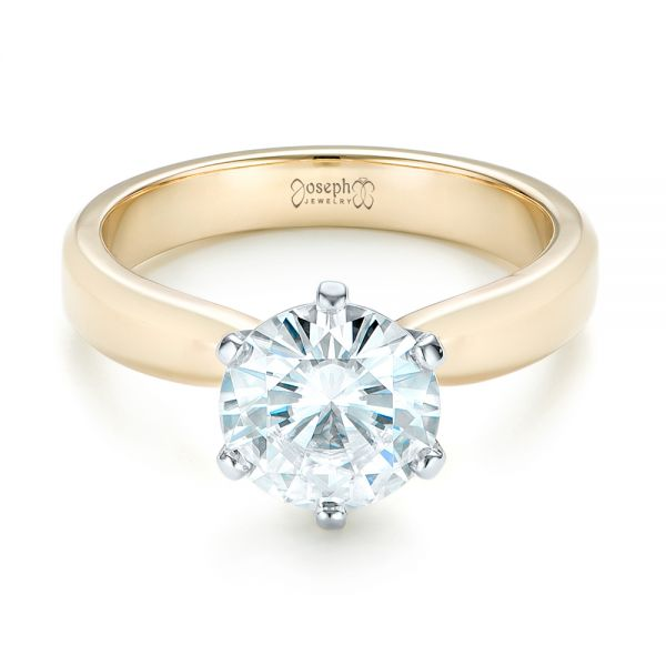 Custom Two-Tone Solitaire Diamond Engagement Ring - Flat View -  103001 - Thumbnail