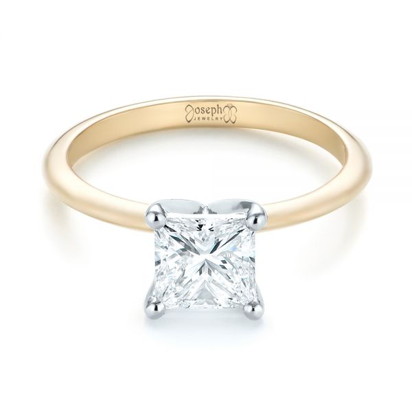Custom Two-Tone Solitaire Diamond Engagement Ring - Flat View -  103447 - Thumbnail