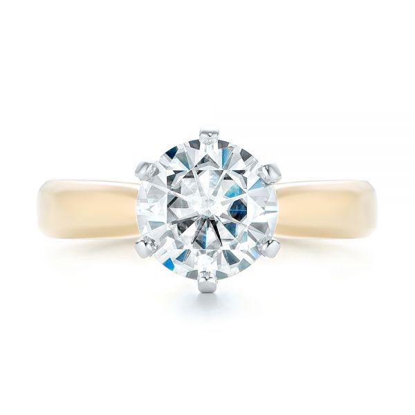 Custom Two-Tone Solitaire Diamond Engagement Ring - Top View -  103001 - Thumbnail