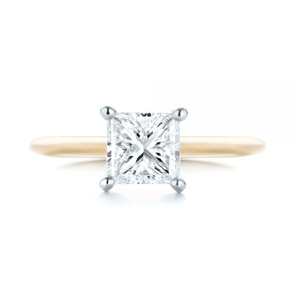 Custom Two-Tone Solitaire Diamond Engagement Ring - Top View -  103447 - Thumbnail