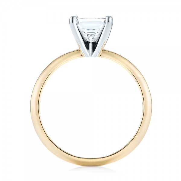 Custom Two-Tone Solitaire Diamond Engagement Ring - Finger Through View