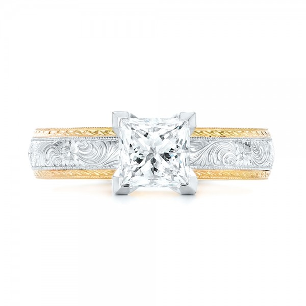 Custom Two-Tone Solitaire Diamond Engagement Ring - Top View