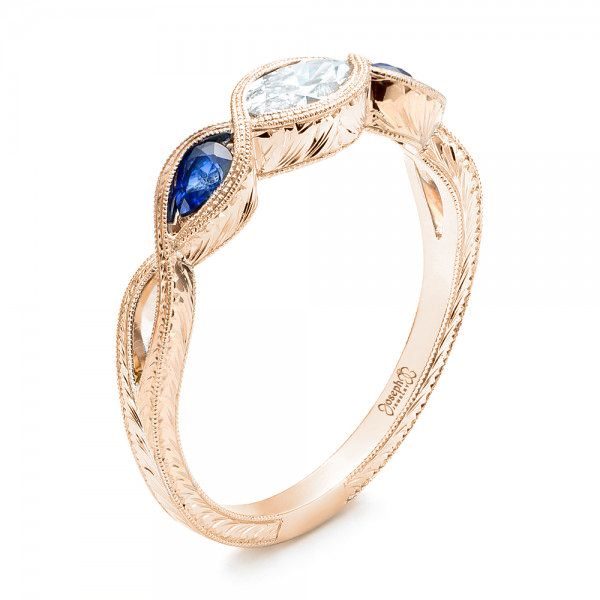 Custom Two-Tone Three Stone Blue Sapphire and Diamond Engagement Ring - Image