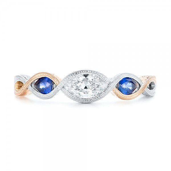 14k White Gold And 14K Gold Custom Two-tone Three Stone Blue Sapphire And Diamond Engagement Ring - Top View -