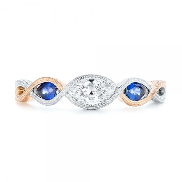 Custom Two Tone Three Stone Blue Sapphire And Diamond