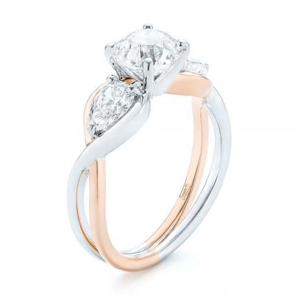 Custom Two-Tone Three Stone Diamond Engagement Ring - Image