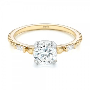 Custom Two-Tone Three Stone Diamond Engagement Ring